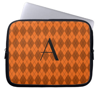 Monogram orange argyle computer sleeves