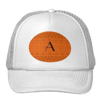 Monogram orange aztec pattern cap