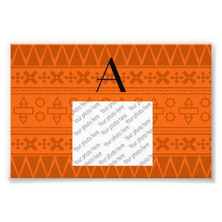 Monogram orange aztec pattern photo print