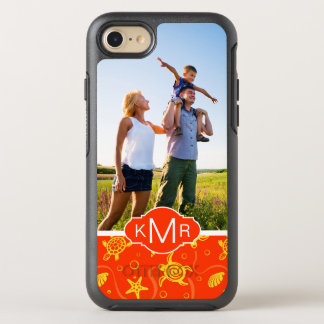 Monogram   Orange Beach Pattern OtterBox Symmetry iPhone 8/7 Case