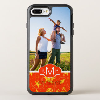 Monogram | Orange Beach Pattern OtterBox Symmetry iPhone 8 Plus/7 Plus Case