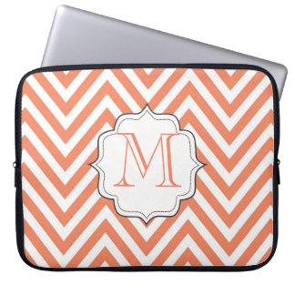 Monogram Orange Chevron Designer Laptop Bag