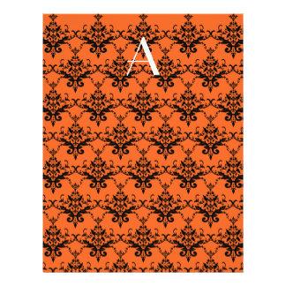Monogram orange damask flyers