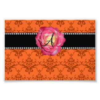 Monogram orange damask pink rose photo print
