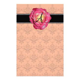 Monogram orange damask pink rose custom stationery