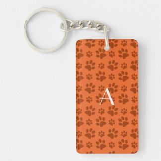 Monogram orange dog paw prints acrylic keychains