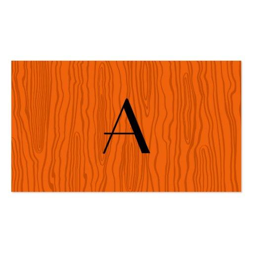 Monogram orange faux bois business card template