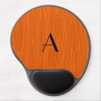 Monogram orange faux bois gel mouse pad
