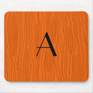 Monogram orange faux bois mouse pad