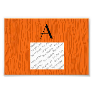 Monogram orange faux bois art photo