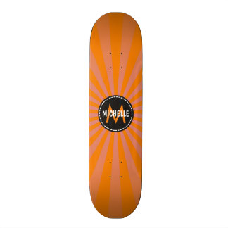 Monogram Orange Funky Sun Rays Pattern Custom Skateboard