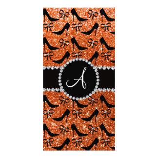 Monogram orange glitter black high heels bow personalized photo card