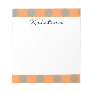 Monogram Orange Gray Chic Cute Polka Dot Pattern Notepad