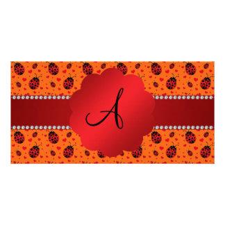 Monogram orange ladybugs hearts photo greeting card