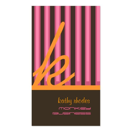 Monogram orange/pink/chocolate stripes business cards