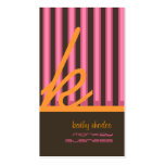 Monogram orange/pink/chocolate stripes pack of standard business cards