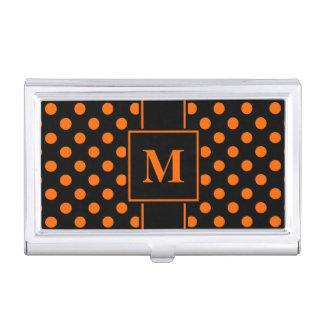 Monogram Orange Polka Dot on Black Business Card Holder
