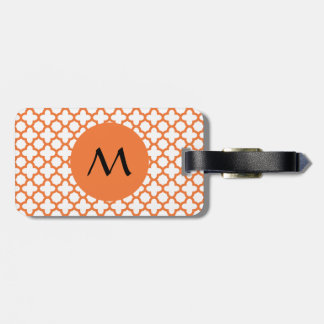Monogram Orange Quatrefoil Pattern Bag Tag