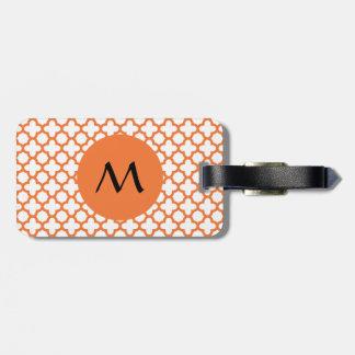 Monogram Orange Quatrefoil Pattern Luggage Tag