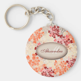 Monogram Orange Red & Cream Flowers Retro Basic Round Button Key Ring