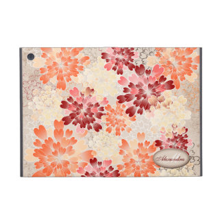 Monogram Orange Red & Cream Flowers Retro Cover For iPad Mini