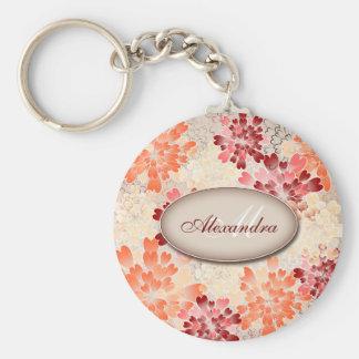 Monogram Orange Red & Cream Flowers Retro Key Chain