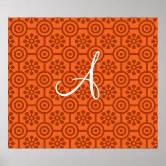 Monogram orange retro flowers and circles poster