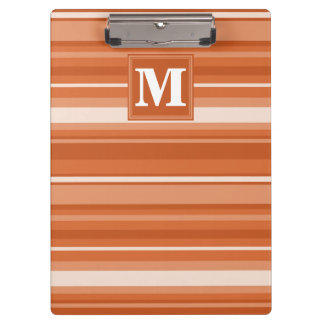 Monogram orange stripes clipboard