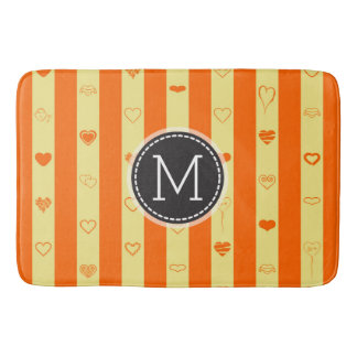 Monogram Orange Stripes Modern Heart Pattern Bath Mat