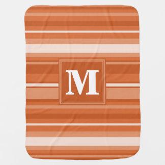 Monogram orange stripes swaddle blankets