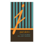 Monogram orange/teal/chocolate stripes pack of standard business cards