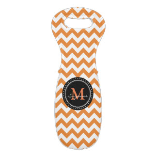 Monogram Orange White Abstract Chevron Wine Bag