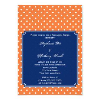 Monogram Orange, White Polka Dot with Royal Blue 13 Cm X 18 Cm Invitation Card