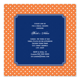 "Monogram Orange, White Polka Dot with Royal Blue 5.25"" Square Invitation Card"