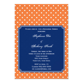 Monogram Orange, White Polka Dot with Royal Blue 5x7 Paper Invitation Card