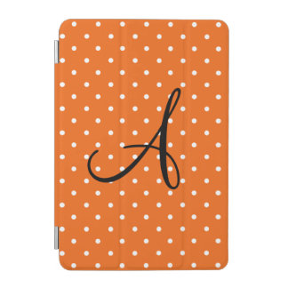 Monogram orange white polka dots iPad mini cover