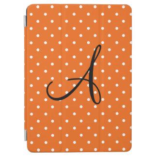 Monogram orange white polka dots iPad air cover