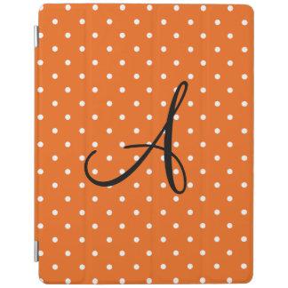 Monogram orange white polka dots iPad cover