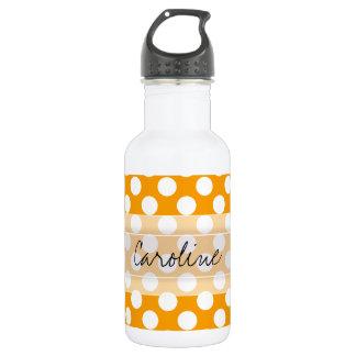 Monogram Orange White Trendy Fun Polka Dot Pattern 532 Ml Water Bottle