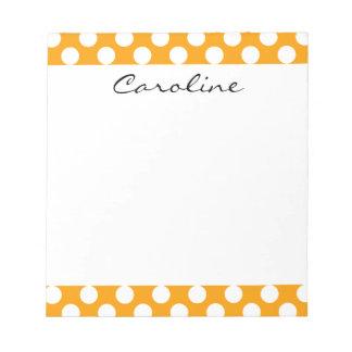 Monogram Orange White Trendy Fun Polka Dot Pattern Notepad