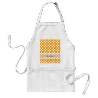 Monogram Orange White Trendy Fun Polka Dot Pattern Standard Apron