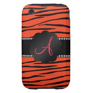 Monogram orange zebra stripes iPhone 3 tough cover