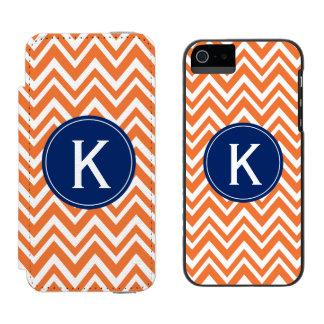 Monogram Orange Zigzag Pattern Incipio Watson™ iPhone 5 Wallet Case