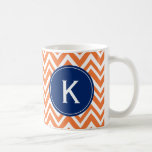 Monogram Orange Zigzag Pattern Classic White Coffee Mug