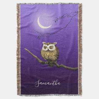 Monogram Owl Night Moon Deep Blue Throw Blanket