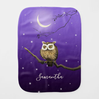Monogram Owl Night Moonlight Deep Blue Burp Cloth
