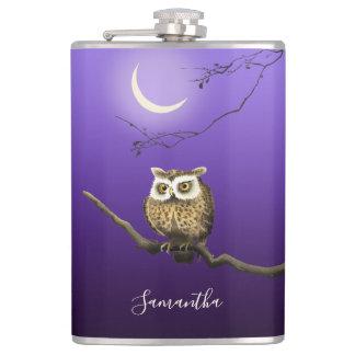 Monogram Owl Night Moonlight Deep Blue Flask