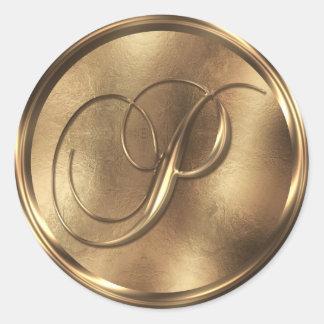 Monogram P Bronze Round Sticker
