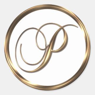 Monogram P Faux Bronze Round Sticker