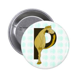Monogram P Flexible Foal Personalised 6 Cm Round Badge